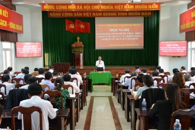 UBND thành phố Buôn Ma Thuột tổ chức Hội nghị đánh giá tình hình thực hiện công tác Quý I và triển khai nhiệm vụ trọng tâm Quý II/2018