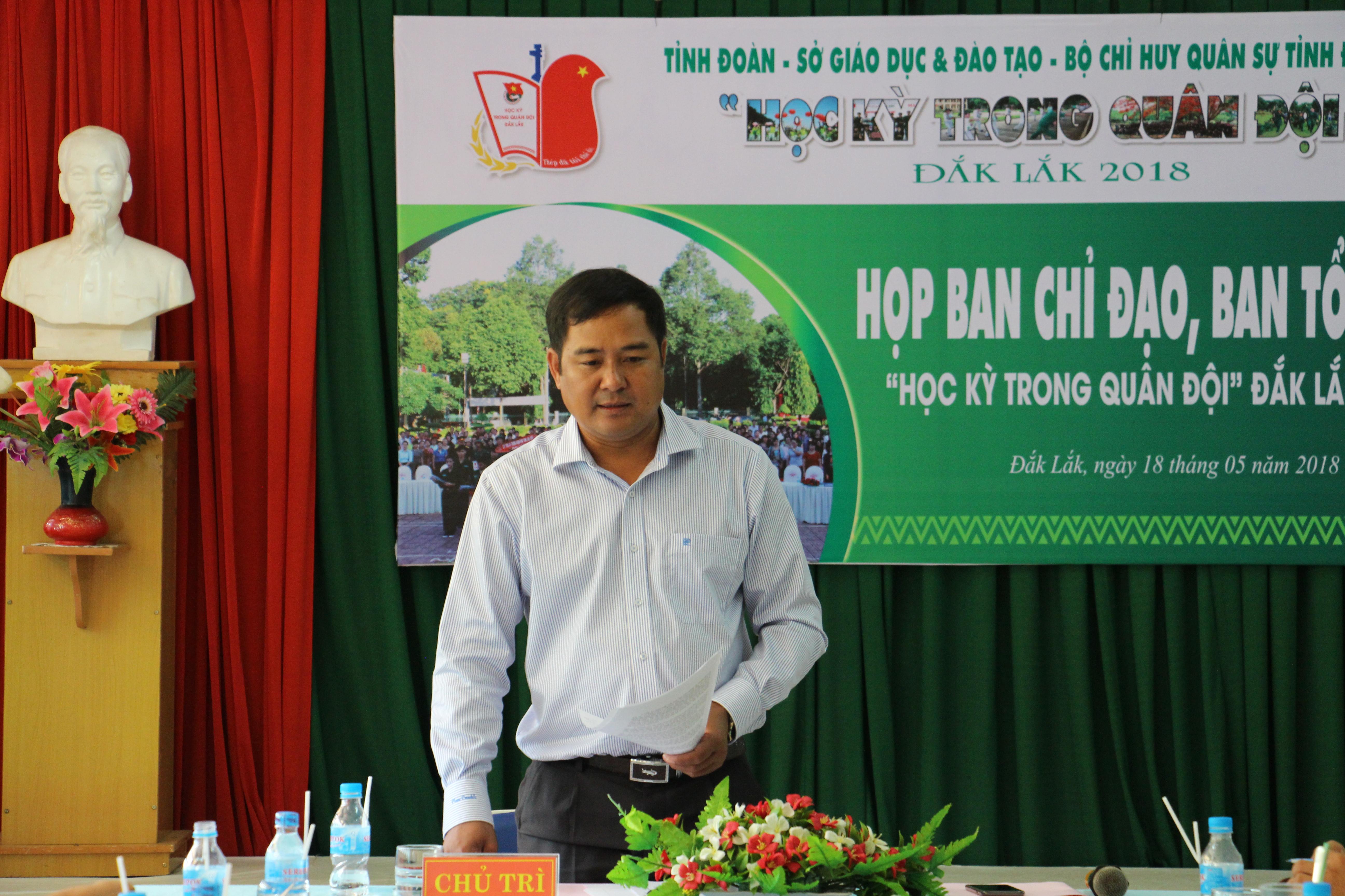 """Họp Ban chỉ đạo - Ban tổ chức Chương trình """"Học kỳ trong Quân đội"""" tỉnh Đắk Lắk năm 2018"""