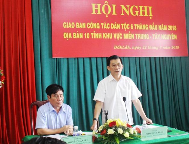 Giao ban công tác dân tộc 10 tỉnh khu vực Miền Trung – Tây Nguyên 6 tháng đầu năm 2018