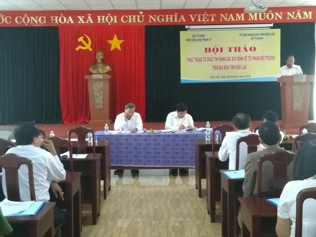 """Hội thảo """"Thực trạng tổ chức thi hành các quy định về tội phạm môi trường trên địa bàn tỉnh Đắk Lắk"""""""
