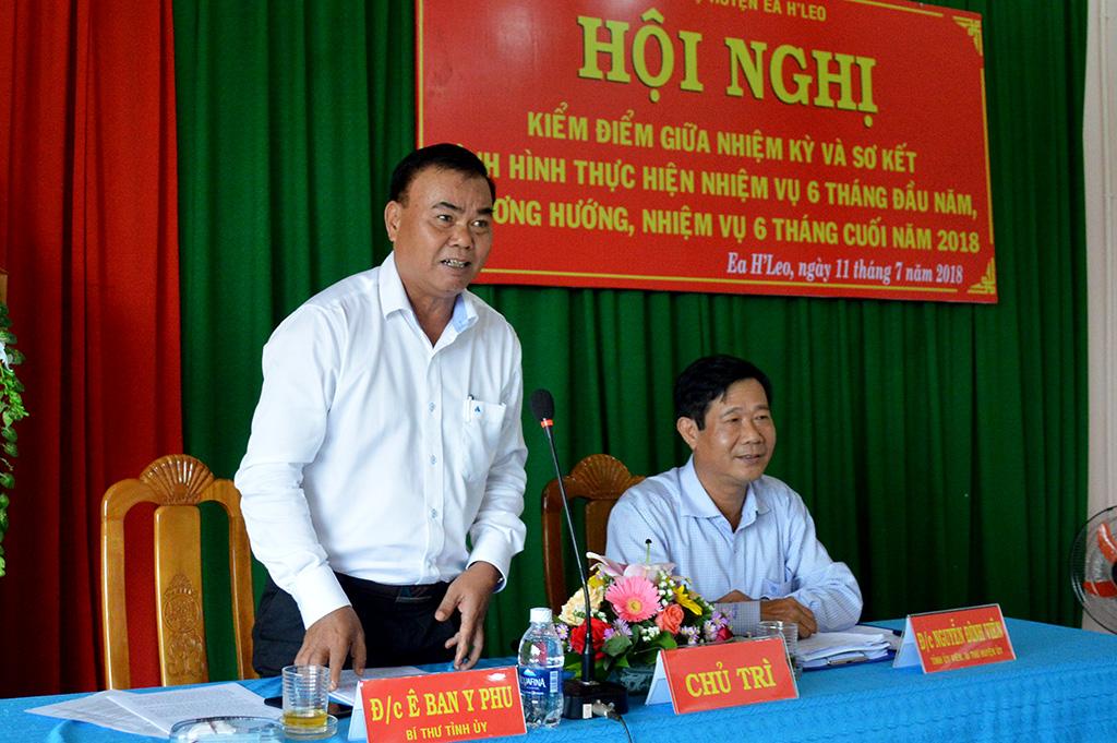 Thường trực Tỉnh ủy làm việc với Huyện ủy Ea H'leo