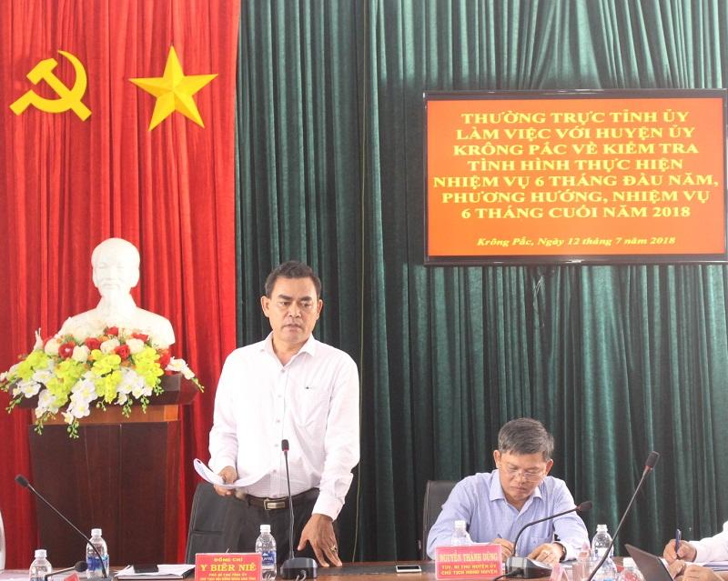 Thường trực Tỉnh ủy làm việc với Huyện ủy Krông Pắk