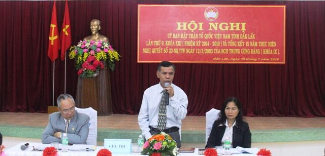 Hội nghị Ủy ban Mặt trận Tổ quốc Việt Nam tỉnh lần thứ 9, khóa XIII, nhiệm kỳ 2014-2019
