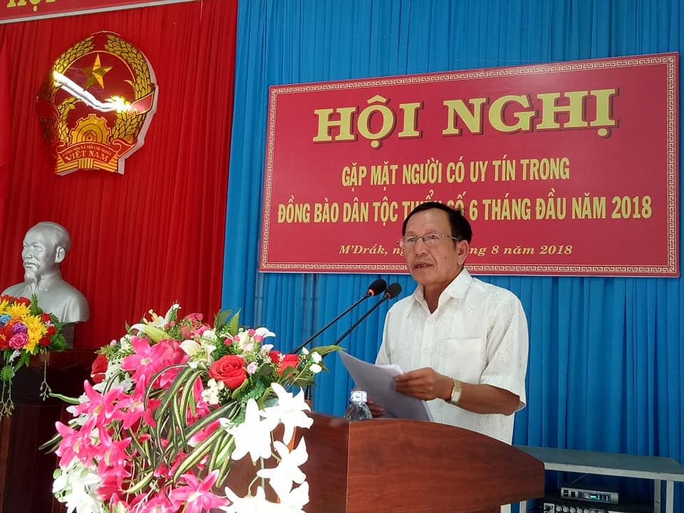 Huyện M'Đrắk: Tổ chức Hội nghị gặp mặt người có uy tín trong đồng bào dân tộc thiểu số 6 tháng đầu năm 2018