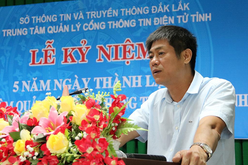 Đồng chí Nguyễn Hoàng Giang, Tỉnh ủy viên, Giám đốc Sở Thông tin và Truyền thông phát biểu tại buổi lễ.