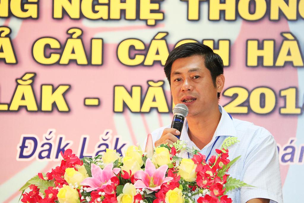 Ông Nguyễn Hoàng Giang, Giám đốc Sở Thông tin và Truyền thông, Trưởng Ban tổ chức phát biểu khai mạc hội thi.