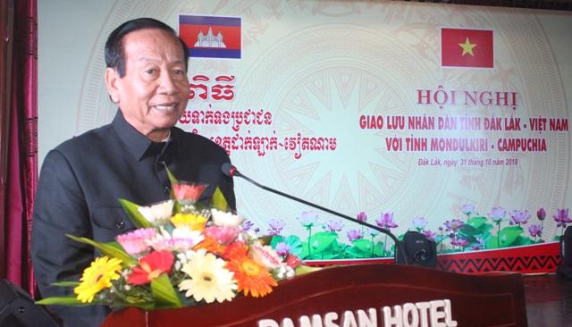 Ủy viên BCH Trung ương Đảng, Chủ tịch HĐND tỉnh Mondulkiri Men Nguy phát biểu tại Hội nghị