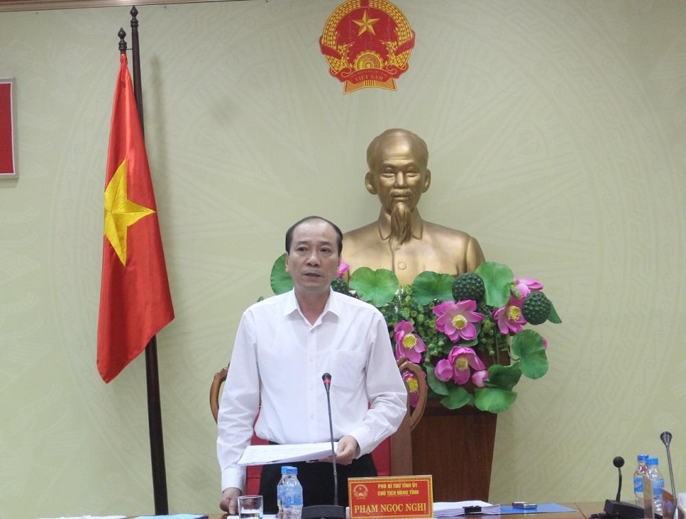Đồng chí Phạm Ngọc Nghị - Phó Bí thư Tỉnh ủy, Chủ tịch UBND tỉnh phát biểu tại cuộc họp