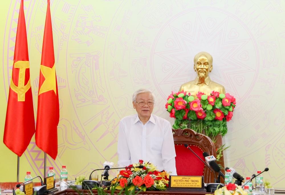 Tổng Bí thư, Chủ tịch nước Nguyễn Phú Trọng làm việc với Ban Thường vụ Tỉnh ủy