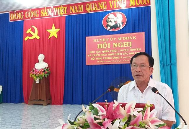 Huyện ủy M'Đắk: Tổ chức Hội nghị cán bộ chủ chốt quán triệt Nghị quyết TW 8 khóa XII