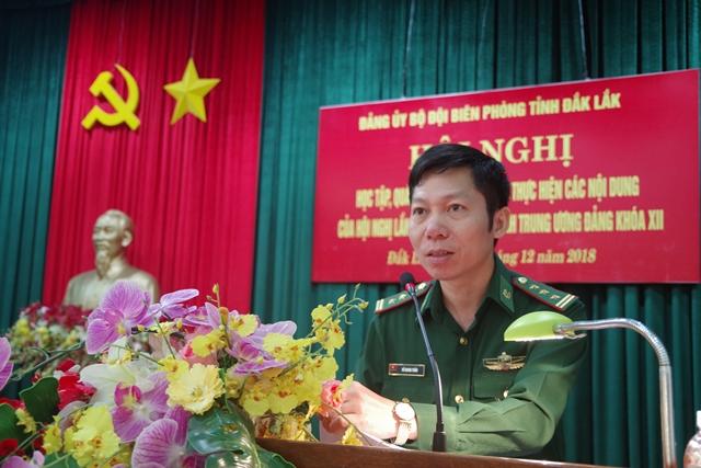 Đảng ủy Bộ đội Biên phòng tỉnh Đắk Lắk tổ chức học tập, quán triệt và triển khai nghị quyết Trung ương 8 (khóa XII)
