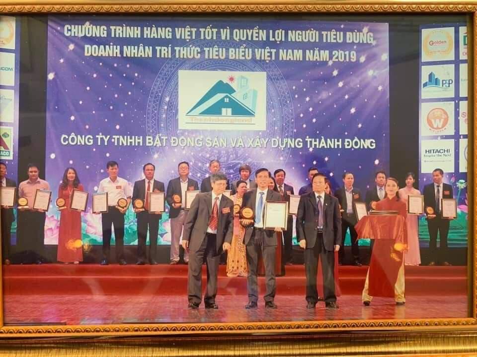 Công ty TNHH Bất động sản và Xây dựng Thành Đồng nhận giải thưởng Top 20 thương hiệu Vàng Việt Nam năm 2019