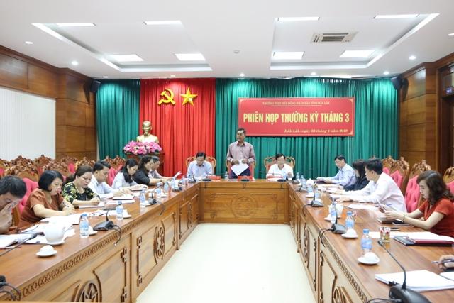 Thường trực HĐND tỉnh Đắk Lắk tổ chức phiên họp thường kỳ tháng 3/2019
