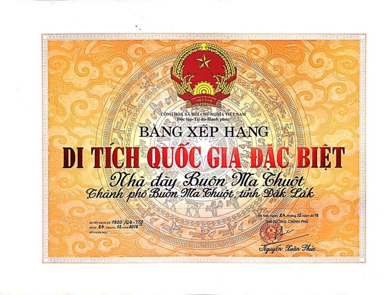 Kế hoạch tổ chức Lễ đón nhận Bằng xếp hạng Di tích quốc gia đặc biệt Nhà đày Buôn Ma Thuột