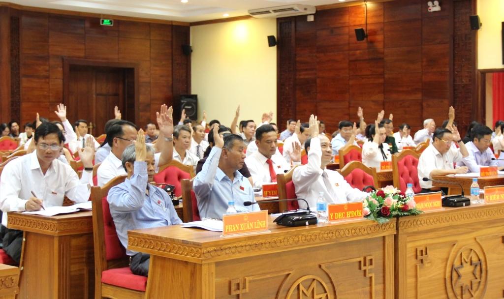 Đại biểu biểu quyết thông qua các Nghị quyết tại Kỳ họp