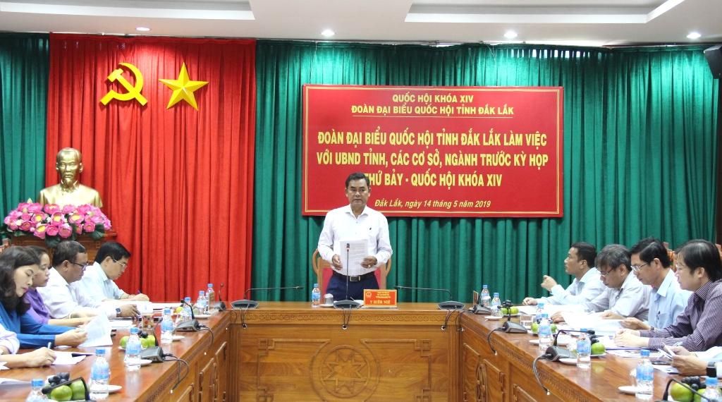 Đoàn Đại biểu Quốc hội tỉnh làm việc với UBND tỉnh và các sở, ngành trước Kỳ họp thứ 7, Quốc hội khoá XIV