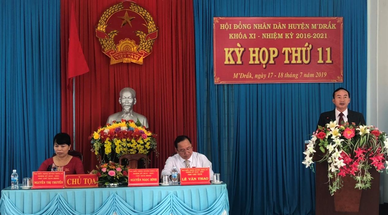 Kỳ họp thứ 11, HĐND huyện M'Đrắk khóa XI, nhiệm kỳ 2016 - 2021