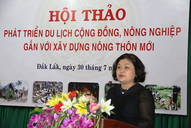 Phó Chủ tịch UBND tỉnh H'Yim Kđoh phát biểu tại Hội thảo