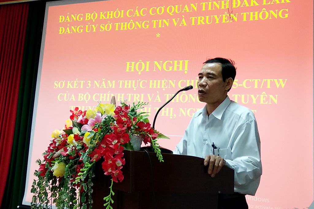 Đảng ủy Sở Thông tin và Truyền thông sơ kết 03 năm thực hiện Chỉ thị số 05-CT/TW của Bộ Chính trị