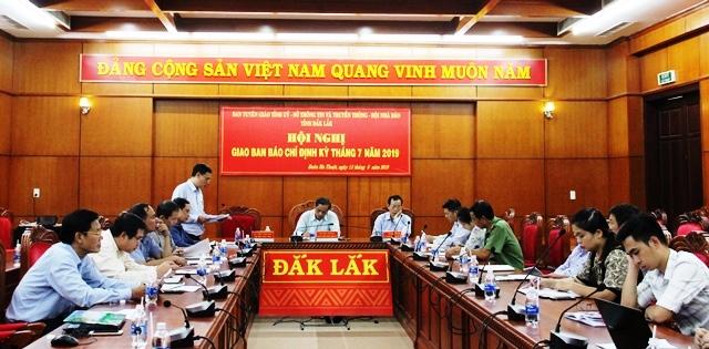 Hội nghị giao ban báo chí định kỳ tháng 7 năm 2019: Tích cực triển khai Giải báo chí về xây dựng Đảng tỉnh Đắk Lắk lần thứ I