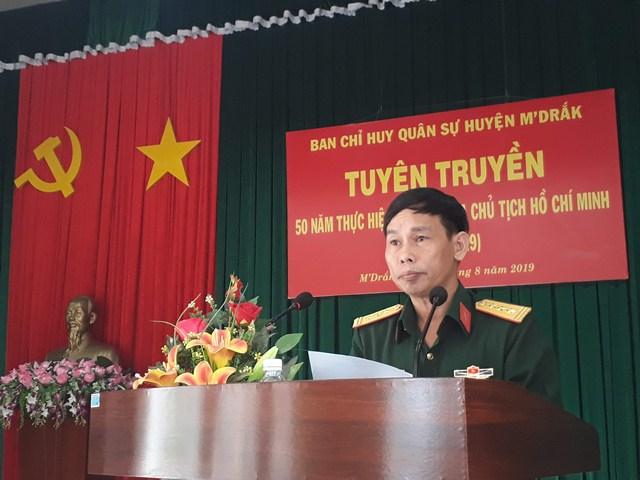 Ban Chỉ huy Quân sự huyện M'Đrắk tuyên truyền 50 năm thực hiện Di chúc của Chủ tịch Hồ Chí Minh (1969 - 2019)