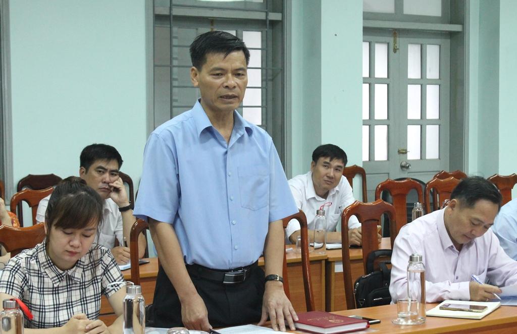 Phó Giám đốc Sở Nội vụ, Trưởng Đoàn kiểm tra 1798 Hoàng Mạnh Hùng phát biểu tại buổi làm việc