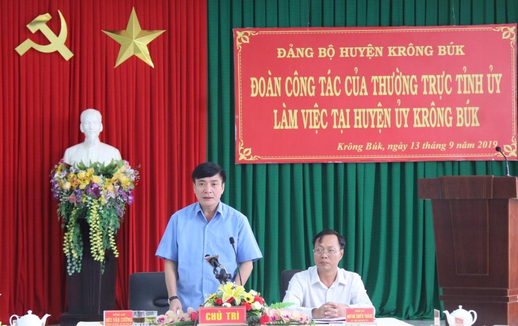 Đoàn công tác của Thường trực Tỉnh ủy làm việc với Huyện ủy Krông Búk
