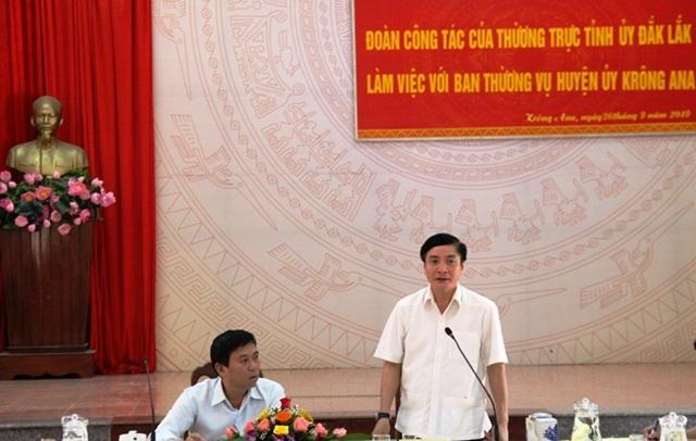 Đoàn công tác của Thường trực Tỉnh ủy làm việc với Huyện ủy Krông Ana