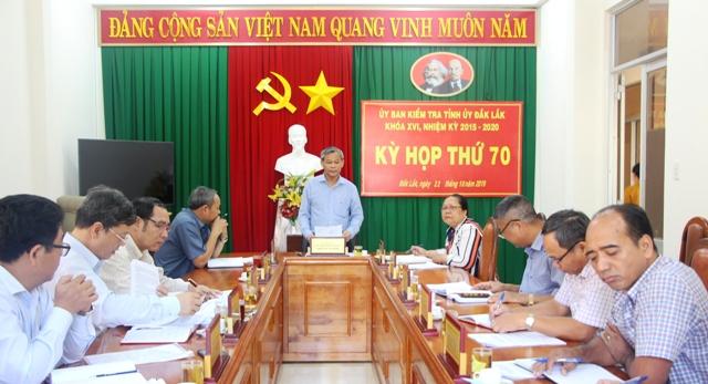Ủy ban kiểm tra Tỉnh ủy họp thường kỳ tháng 10