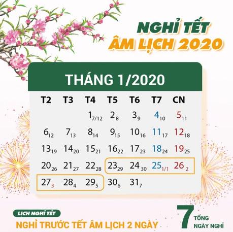 Thông báo nghỉ Tết Âm lịch năm 2020