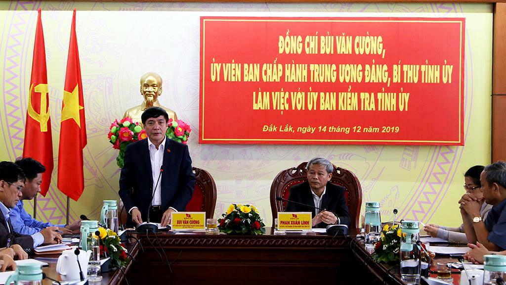 Bí thư Tỉnh ủy Bùi Văn Cường làm việc với Ủy ban Kiểm tra Tỉnh ủy