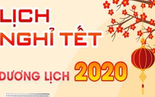 Lịch nghỉ Tết Dương lịch năm 2020