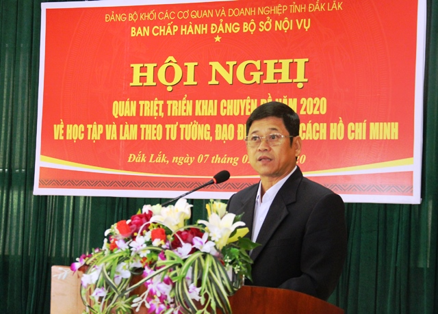 """Sở Nội vụ quán triệt chuyên đề """"Học tập và làm theo tư tưởng, đạo đức, phong cách Hồ Chí Minh"""" năm 2020"""