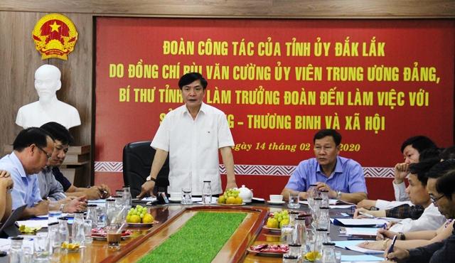 Đoàn công tác của Tỉnh ủy làm việc với Sở Lao động, Thương binh và Xã hội