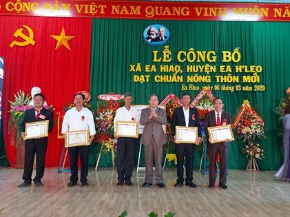 Lễ công bố xã Ea Hiao, huyện Ea H'Leo đạt chuẩn nông thôn mới