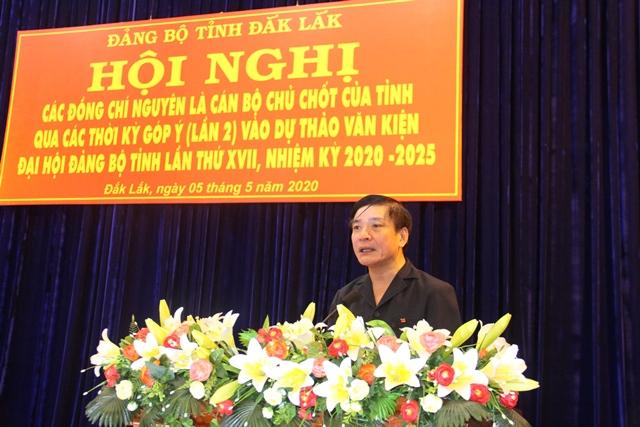 Cán bộ chủ chốt qua các thời kỳ góp ý dự thảo văn kiện Đại hội Đảng bộ tỉnh lần thứ XVII, nhiệm kỳ 2020-2025