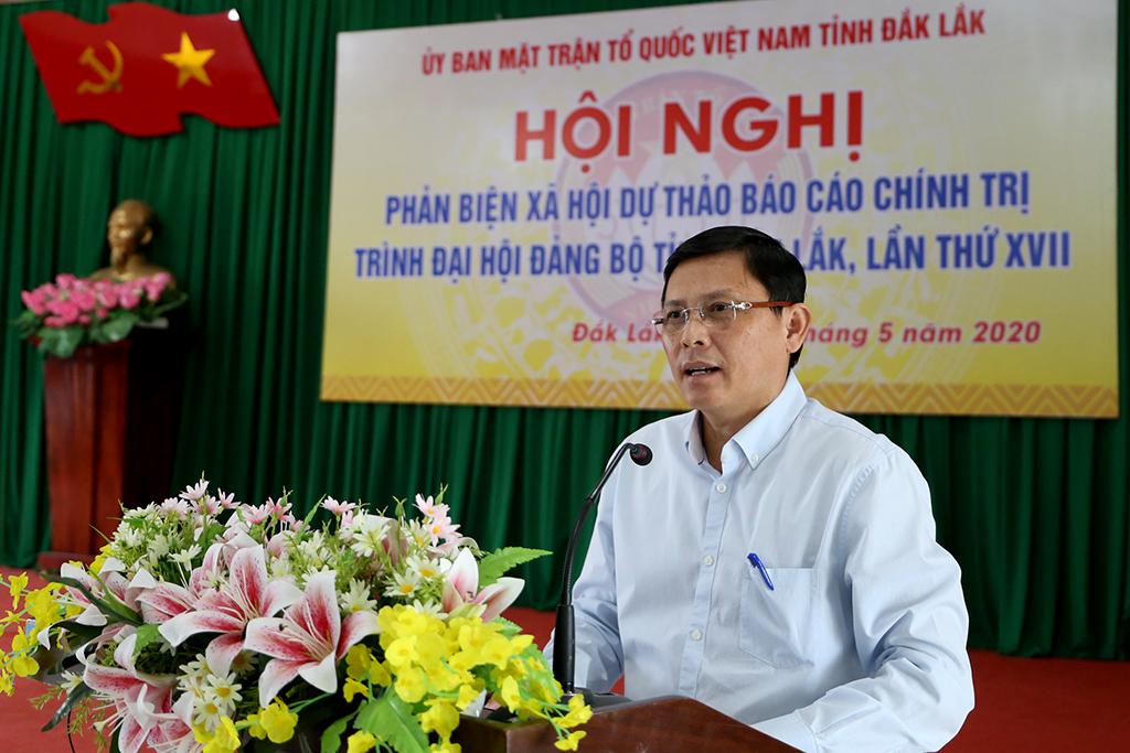 Hội nghị phản biện xã hội Dự thảo báo cáo chính trị trình Đại hội Đảng bộ tỉnh lần thứ XVII