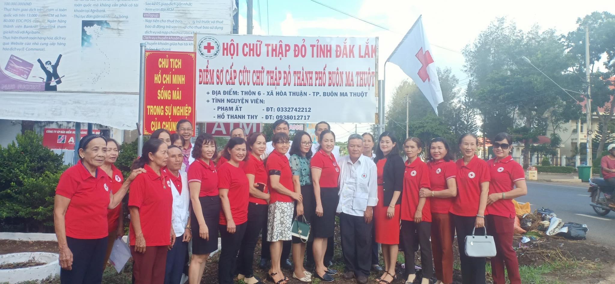 Ra mắt Điểm sơ cấp cứu Chữ thập đỏ tại Km 12, quốc lộ 14, xã Hoà Thuận