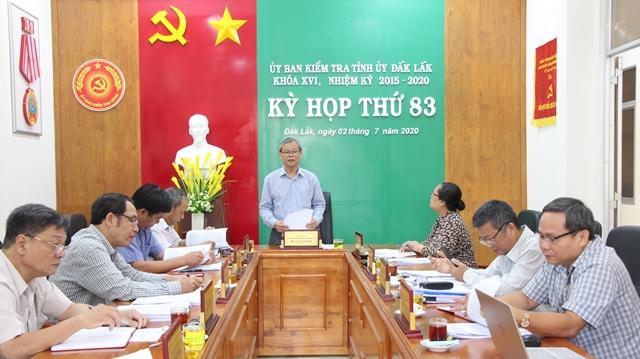 Ủy ban Kiểm tra Tỉnh ủy họp Kỳ thứ 83
