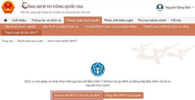 Dịch vụ thanh toán trực tuyến đóng tiếp BHXH tự nguyện