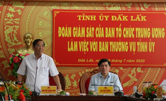 Đoàn giám sát của Ban Tổ chức Trung ương làm việc với Ban Thường vụ Tỉnh ủy Đắk Lắk