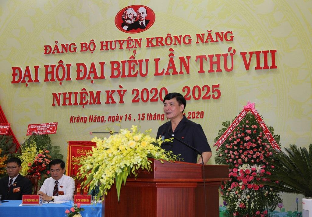 Bí thư Tỉnh ủy Bùi Văn Cường dự phiên trù bị Đại hội đại biểu Đảng bộ huyện Krông Năng lần thứ VIII, nhiệm kỳ 2020 - 2025