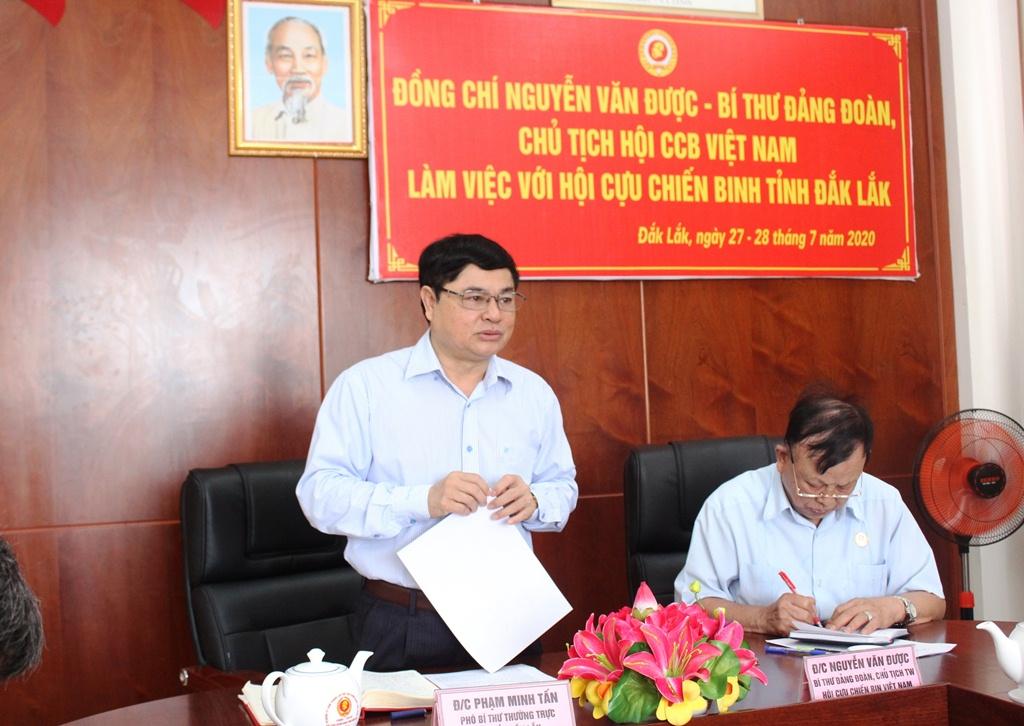 Chủ tịch Hội Cựu chiến binh Việt Nam làm việc với Hội Cựu chiến binh tỉnh Đắk Lắk