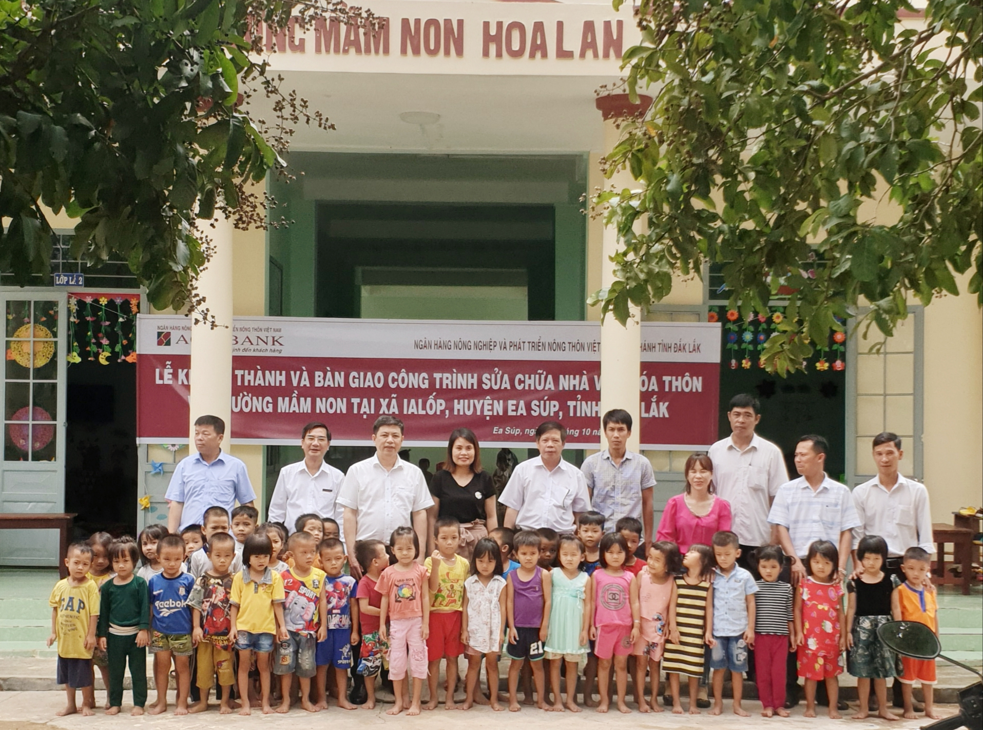 Tổ chức nghiệm thu và bàn giao công trình sửa chữa Nhà văn hóa và Trường Mầm non tại xã Ia Lốp, huyện Ea Súp