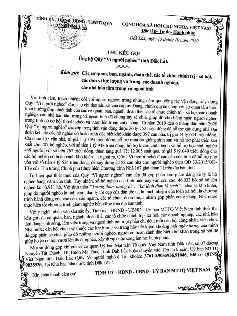 """Tỉnh ủy – HĐND – UBND - Ủy ban MTTQ Việt Nam tỉnh Đắk Lắk kêu gọi ủng hộ Quỹ """"Vì người nghèo"""""""