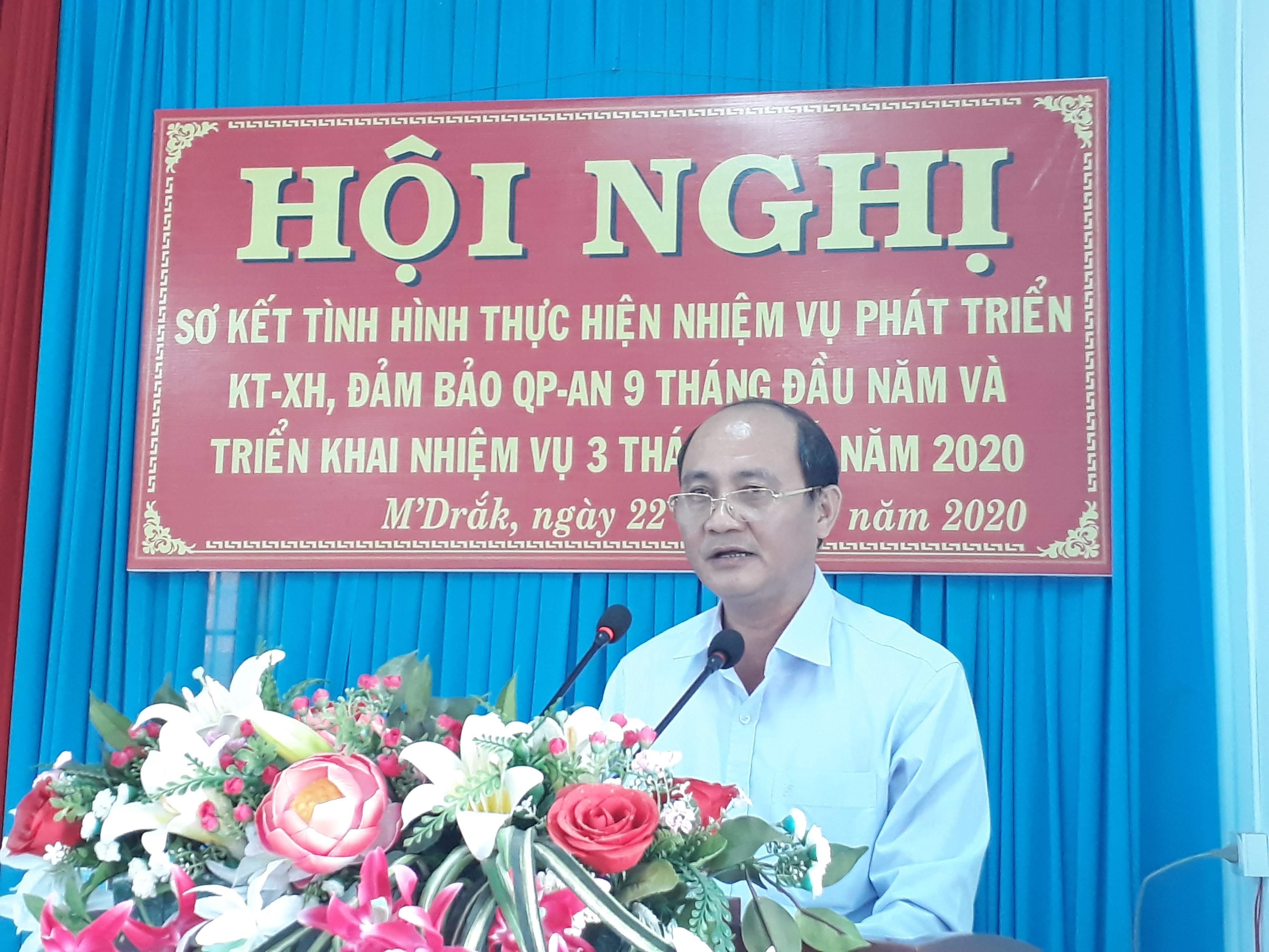 UBND huyện M'Drắk triển khai nhiệm vụ 3 tháng cuối năm 2020