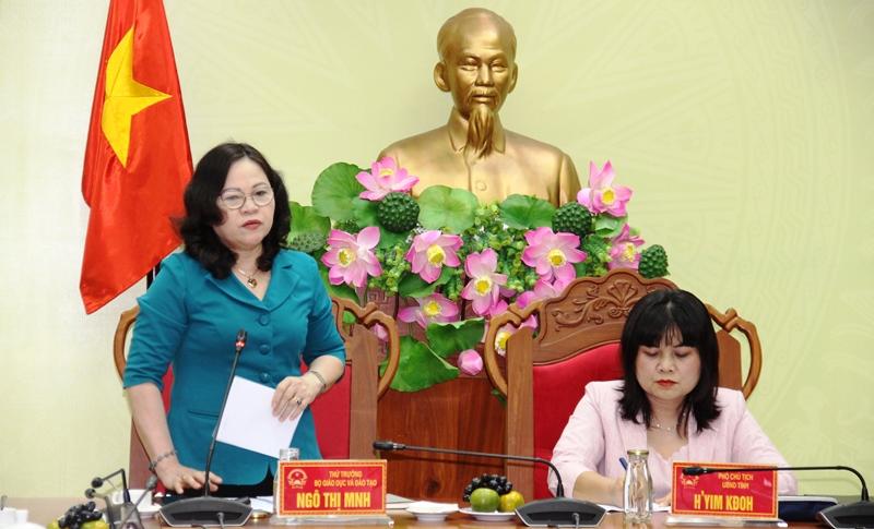 Thứ trưởng Bộ Giáo dục và Đào tạo Ngô Thị Minh làm việc với UBND tỉnh