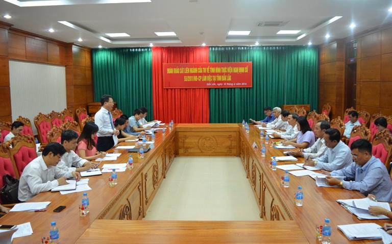 Đoàn công tác liên ngành của Trung ương khảo sát, đánh giá tình hình thực hiện công tác pháp chế trên địa bàn tỉnh.