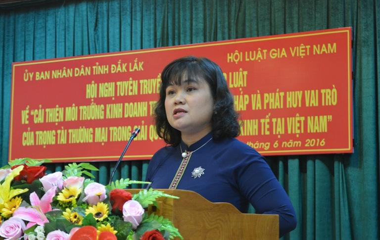 """Hội nghị tuyên truyền, phổ biến pháp luật về """" Cải thiện môi trường kinh doanh trong hoạt động tư pháp và phát huy vai trò của trọng tài thương mại trong giải quyết các tranh chấp kinh tế tại Việt Nam""""."""