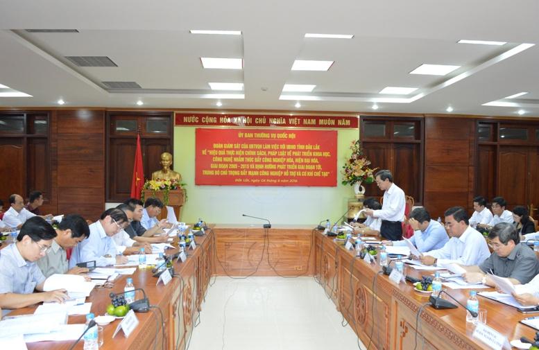 Đoàn giám sát của Ủy ban Thường vụ Quốc hội làm việc với UBND tỉnh